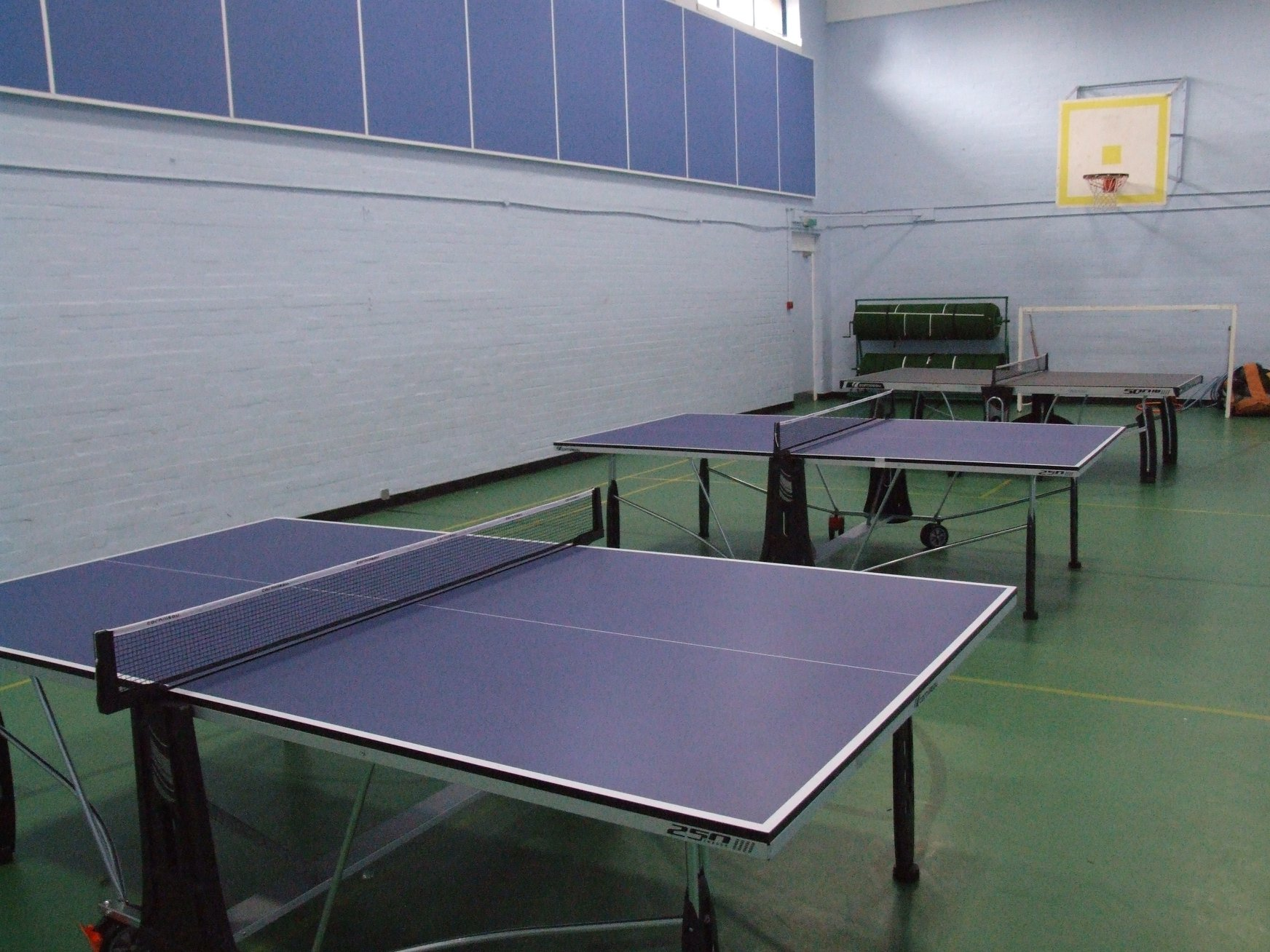 Table tennis setup in the sports hall