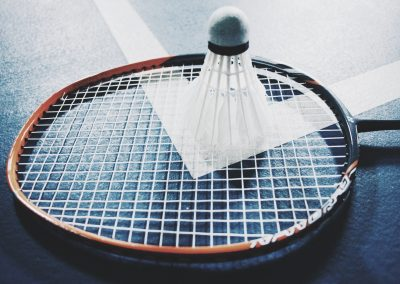 An image of a shuttlecock on a racket