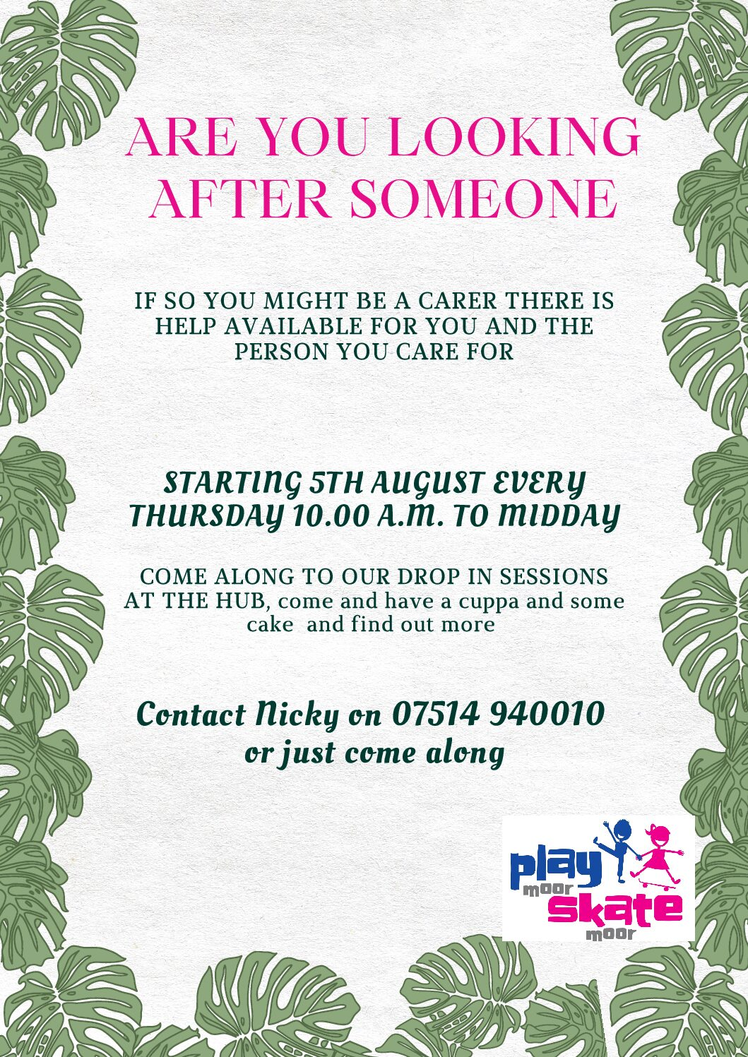 Drop in sessions for carers in Turlin Moor